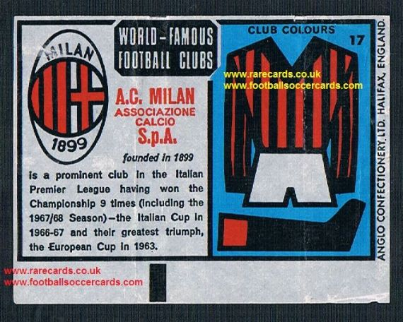 1970 Anglo Gum waxy paper insert World Famous Football Clubs A.C. Milan